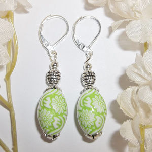 Lime Green and White Flower Earrings Beaded 3703